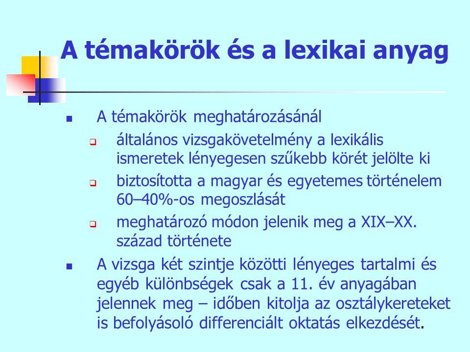 A témakörök és a lexikai anyag A témakörök meghatározásánál  általános vizsgakövetelmény a lexikális ismeretek lényegesen szűkebb körét jelölte ki  biztosította a magyar és egyetemes történelem 60–40%-os megoszlását  meghatározó módon jelenik meg a XIX–XX.