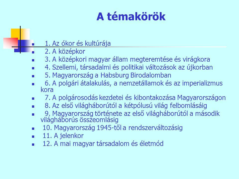 A témakörök 1. Az ókor és kultúrája 2. A középkor 3.