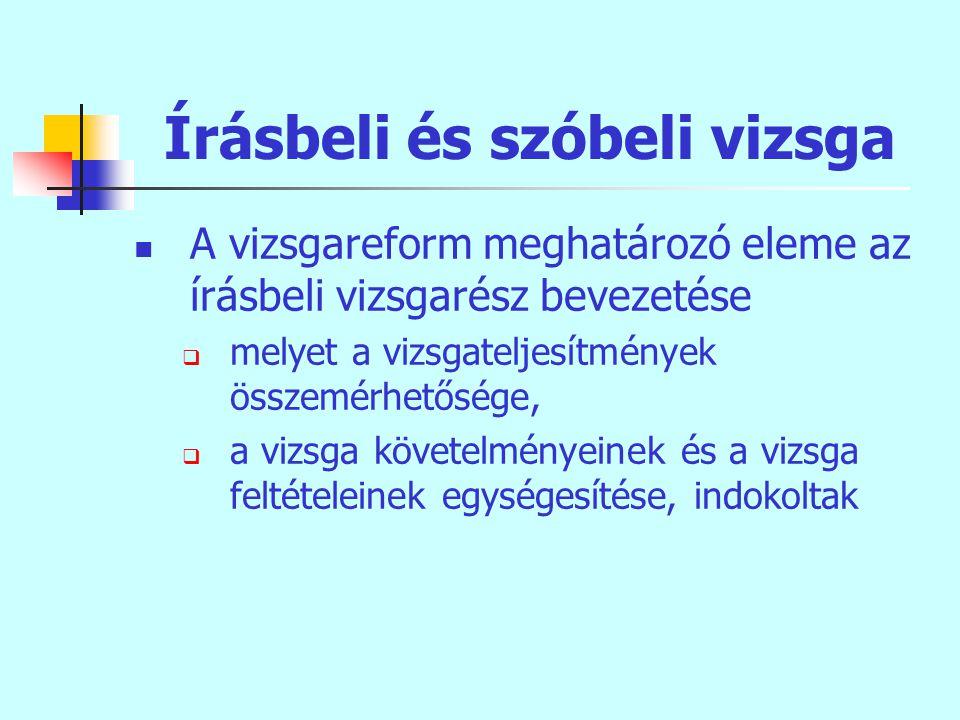 Írásbeli és szóbeli vizsga A vizsgareform meghatározó eleme az írásbeli vizsgarész bevezetése  melyet a vizsgateljesítmények összemérhetősége,  a vizsga követelményeinek és a vizsga feltételeinek egységesítése, indokoltak