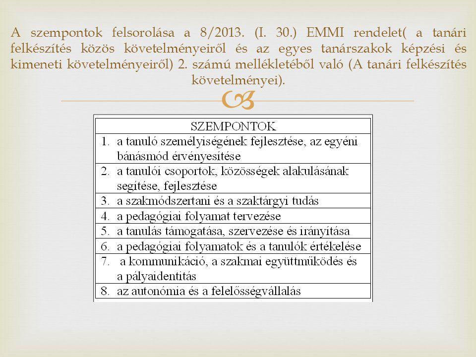  A szempontok felsorolása a 8/2013. (I. 30.) EMMI rendelet( a tanári felkészítés közös követelményeiről és az egyes tanárszakok képzési és kimeneti k