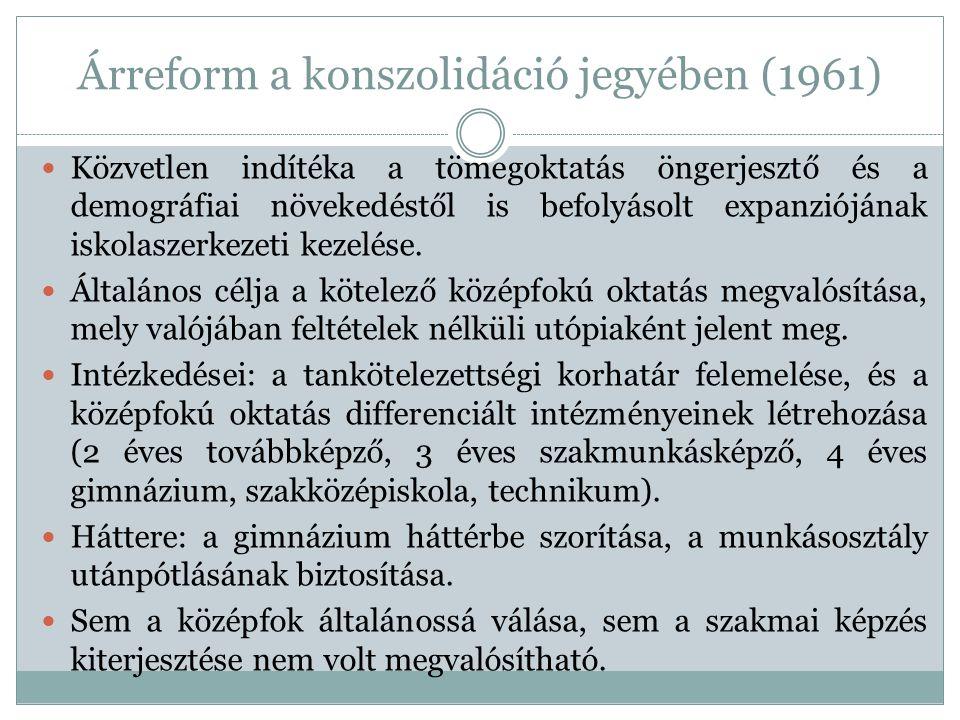 Árreform a konszolidáció jegyében (1961) Közvetlen indítéka a tömegoktatás öngerjesztő és a demográfiai növekedéstől is befolyásolt expanziójának isko