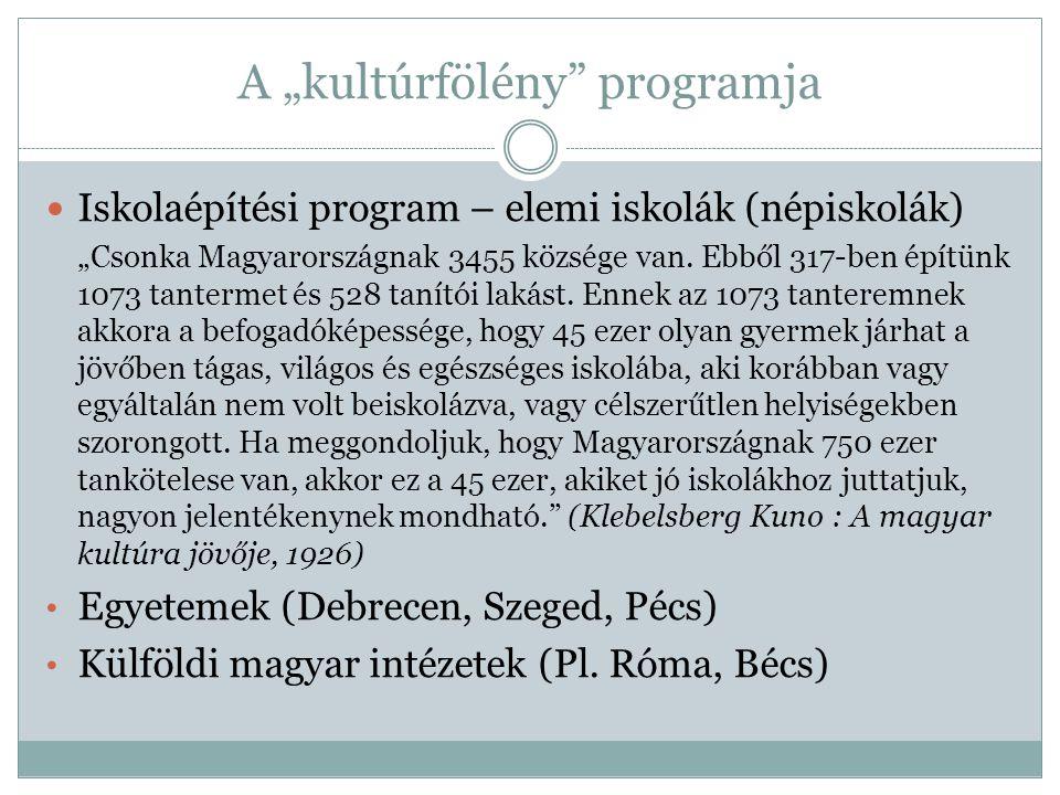"""A """"kultúrfölény"""" programja Iskolaépítési program – elemi iskolák (népiskolák) """"Csonka Magyarországnak 3455 községe van. Ebből 317-ben építünk 1073 tan"""