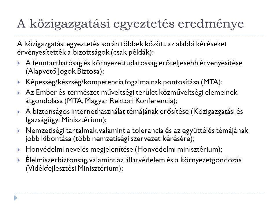 A közigazgatási egyeztetés eredménye A közigazgatási egyeztetés során többek között az alábbi kéréseket érvényesítették a bizottságok (csak példák): 