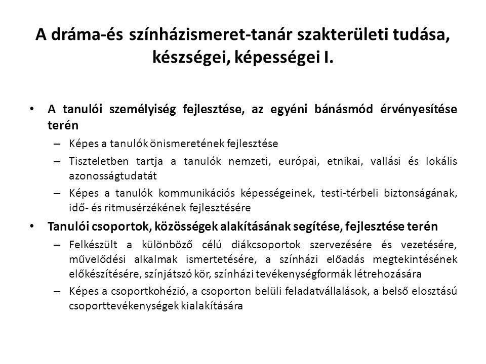 A dráma-és színházismeret-tanár szakterületi tudása, készségei, képességei II.