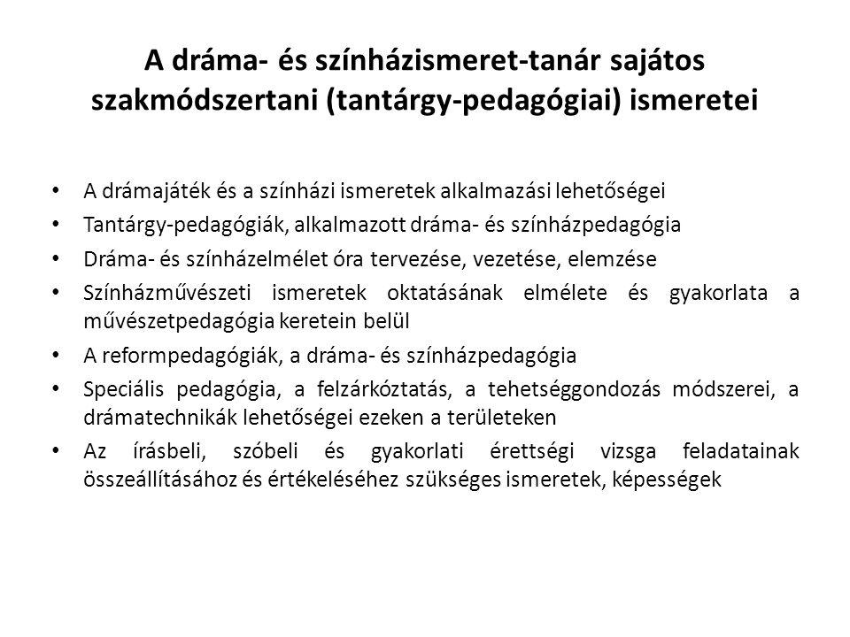 A dráma- és színházismeret-tanár sajátos szakmódszertani (tantárgy-pedagógiai) ismeretei A drámajáték és a színházi ismeretek alkalmazási lehetőségei