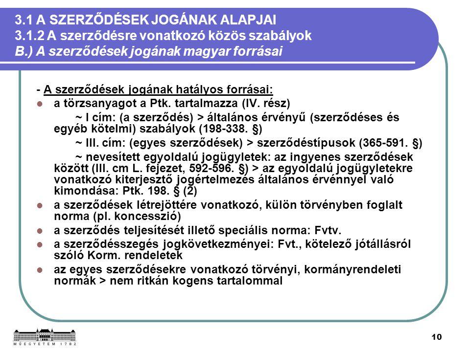 10 3.1 A SZERZŐDÉSEK JOGÁNAK ALAPJAI 3.1.2 A szerződésre vonatkozó közös szabályok B.) A szerződések jogának magyar forrásai - A szerződések jogának h