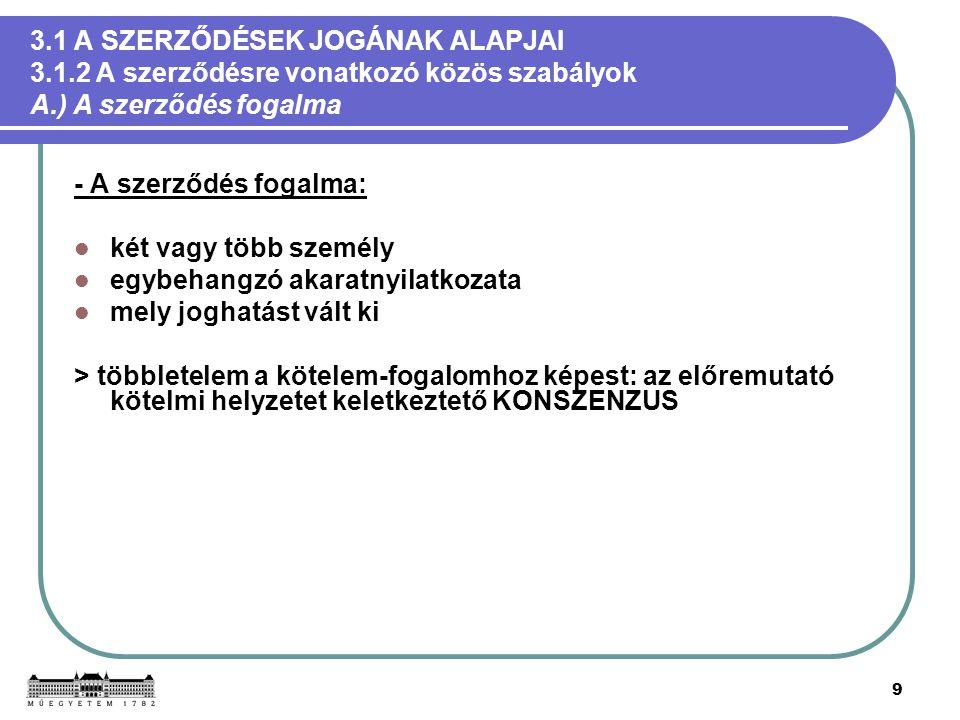 10 3.1 A SZERZŐDÉSEK JOGÁNAK ALAPJAI 3.1.2 A szerződésre vonatkozó közös szabályok B.) A szerződések jogának magyar forrásai - A szerződések jogának hatályos forrásai: a törzsanyagot a Ptk.