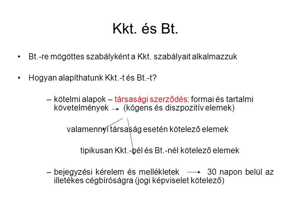 Bt.-re mögöttes szabályként a Kkt.szabályait alkalmazzuk Hogyan alapíthatunk Kkt.-t és Bt.-t.