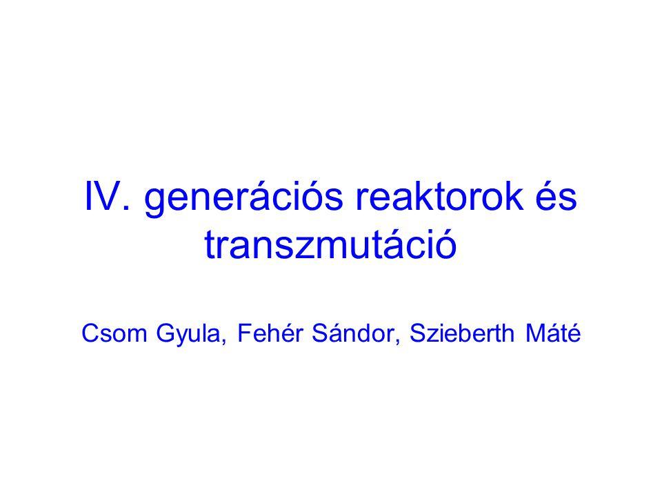 IV. generációs reaktorok és transzmutáció Csom Gyula, Fehér Sándor, Szieberth Máté