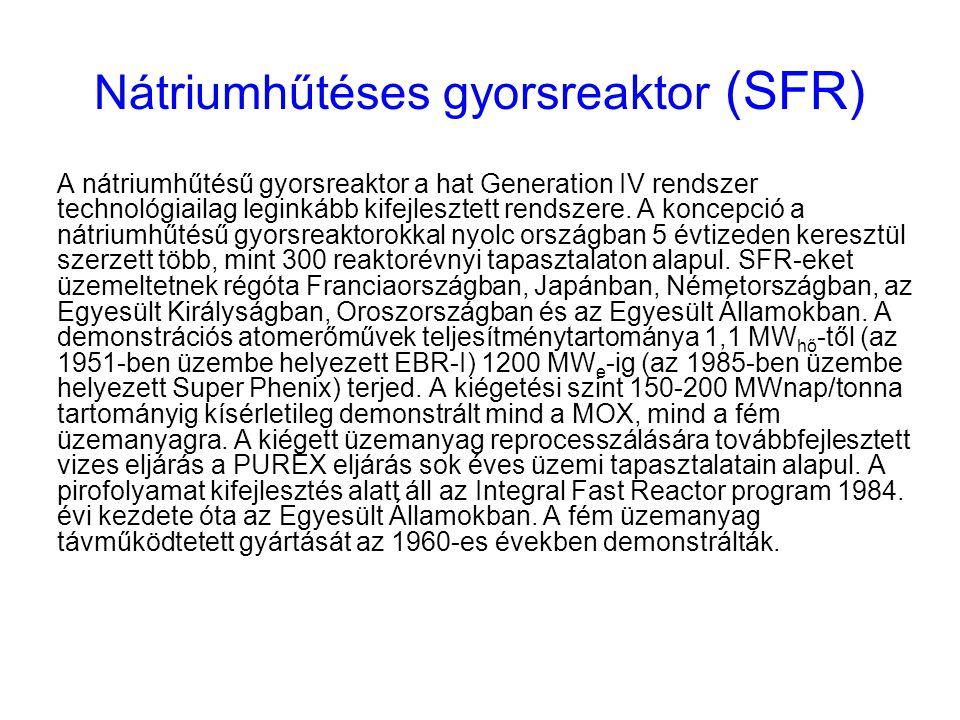 Nátriumhűtéses gyorsreaktor (SFR) A nátriumhűtésű gyorsreaktor a hat Generation IV rendszer technológiailag leginkább kifejlesztett rendszere. A konce