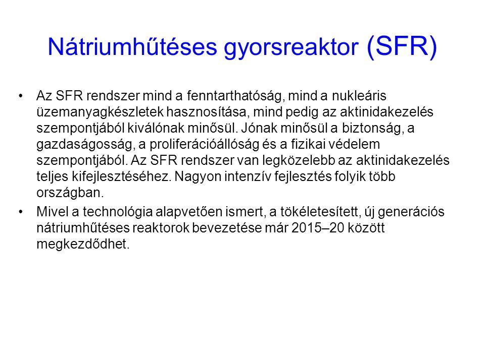 Nátriumhűtéses gyorsreaktor (SFR) Az SFR rendszer mind a fenntarthatóság, mind a nukleáris üzemanyagkészletek hasznosítása, mind pedig az aktinidakeze