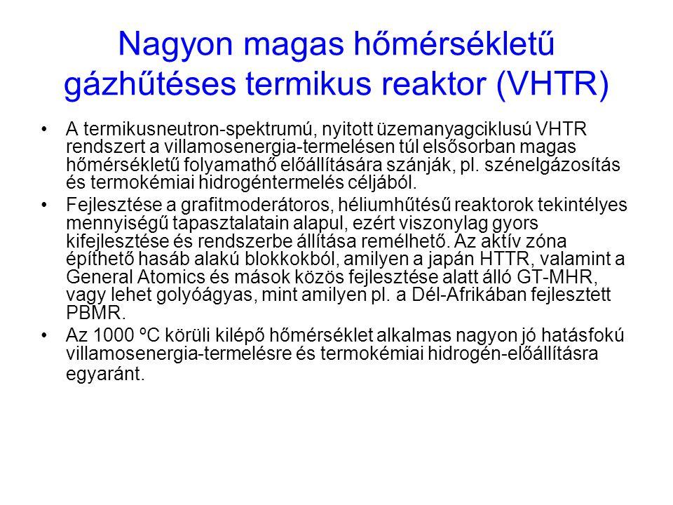 Nagyon magas hőmérsékletű gázhűtéses termikus reaktor (VHTR) A termikusneutron-spektrumú, nyitott üzemanyagciklusú VHTR rendszert a villamosenergia-te
