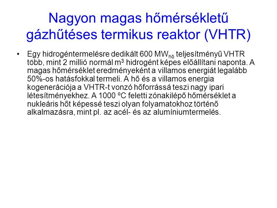Nagyon magas hőmérsékletű gázhűtéses termikus reaktor (VHTR) Egy hidrogéntermelésre dedikált 600 MW hő teljesítményű VHTR több, mint 2 millió normál m