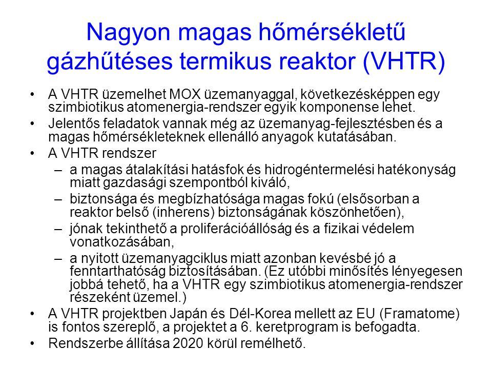 Nagyon magas hőmérsékletű gázhűtéses termikus reaktor (VHTR) A VHTR üzemelhet MOX üzemanyaggal, következésképpen egy szimbiotikus atomenergia-rendszer