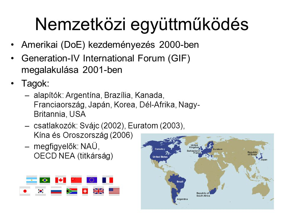 Nemzetközi együttműködés Amerikai (DoE) kezdeményezés 2000-ben Generation-IV International Forum (GIF) megalakulása 2001-ben Tagok: –alapítók: Argentí