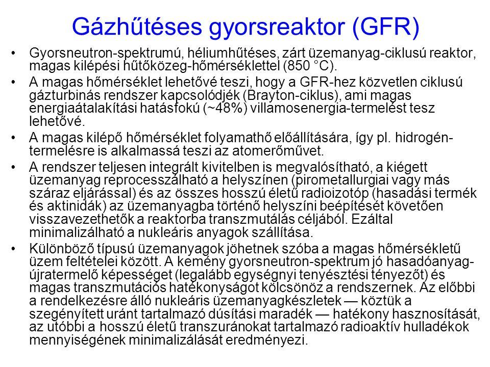 Gázhűtéses gyorsreaktor (GFR) Gyorsneutron-spektrumú, héliumhűtéses, zárt üzemanyag-ciklusú reaktor, magas kilépési hűtőközeg-hőmérséklettel (850 °C).