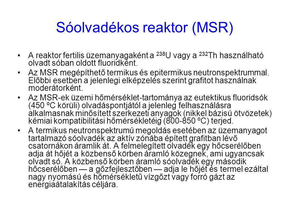 Sóolvadékos reaktor (MSR) A reaktor fertilis üzemanyagaként a 238 U vagy a 232 Th használható olvadt sóban oldott fluoridként. Az MSR megépíthető term