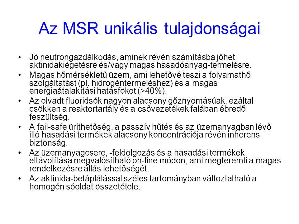 Az MSR unikális tulajdonságai Jó neutrongazdálkodás, aminek révén számításba jöhet aktinidakiégetésre és/vagy magas hasadóanyag-termelésre. Magas hőmé