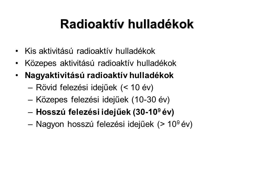 Radioaktív hulladékok Kis aktivitású radioaktív hulladékok Közepes aktivitású radioaktív hulladékok Nagyaktivitású radioaktív hulladékok –Rövid felezé