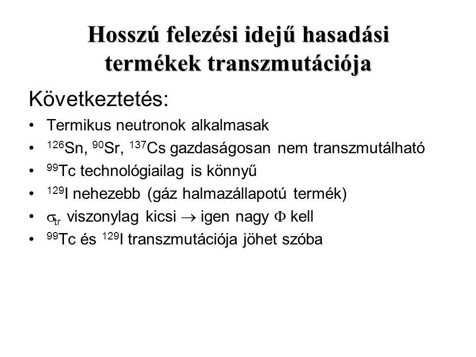 Következtetés: Termikus neutronok alkalmasak 126 Sn, 90 Sr, 137 Cs gazdaságosan nem transzmutálható 99 Tc technológiailag is könnyű 129 I nehezebb (gá