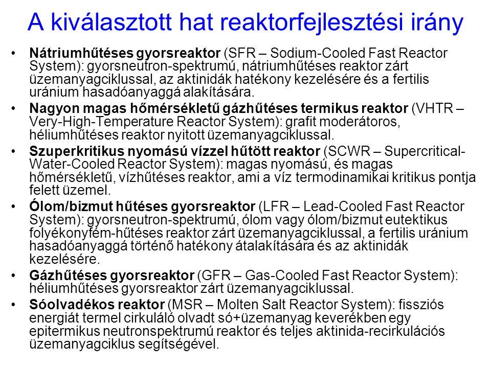 A kiválasztott hat reaktorfejlesztési irány Nátriumhűtéses gyorsreaktor (SFR – Sodium-Cooled Fast Reactor System): gyorsneutron-spektrumú, nátriumhűté