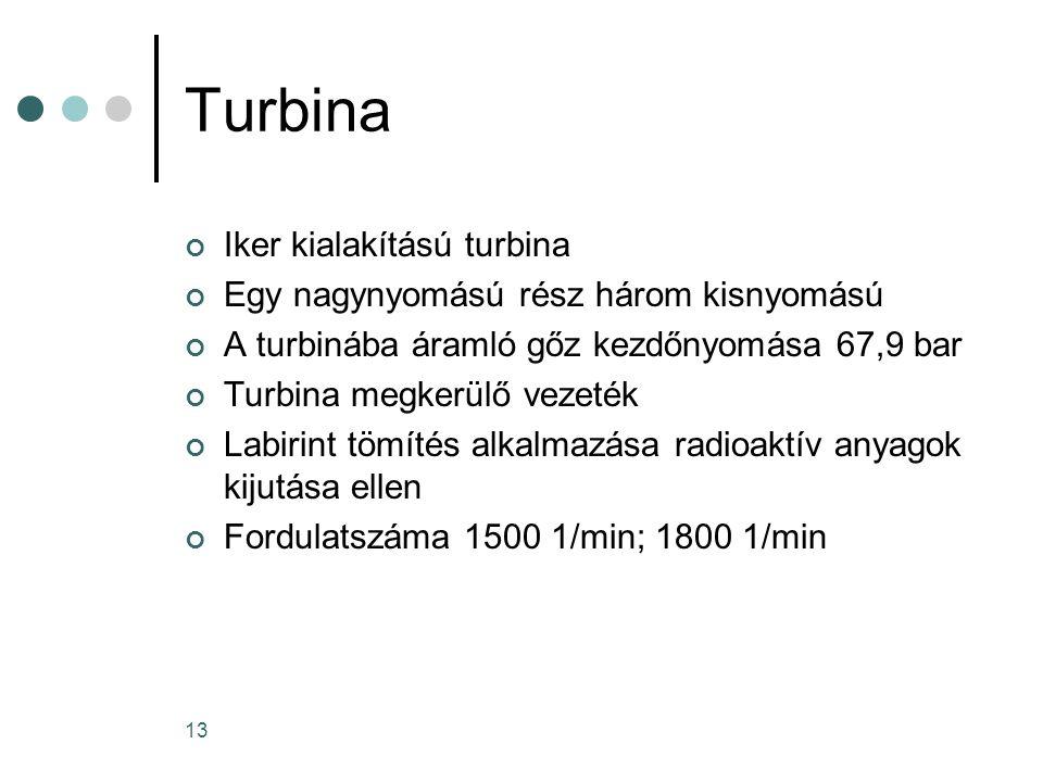 13 Turbina Iker kialakítású turbina Egy nagynyomású rész három kisnyomású A turbinába áramló gőz kezdőnyomása 67,9 bar Turbina megkerülő vezeték Labirint tömítés alkalmazása radioaktív anyagok kijutása ellen Fordulatszáma 1500 1/min; 1800 1/min