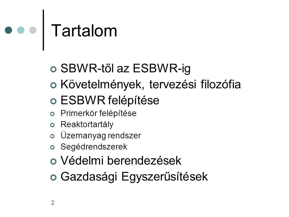 2 Tartalom SBWR-től az ESBWR-ig Követelmények, tervezési filozófia ESBWR felépítése Primerkör felépítése Reaktortartály Üzemanyag rendszer Segédrendszerek Védelmi berendezések Gazdasági Egyszerűsítések