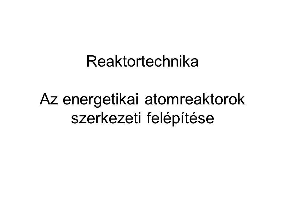 Tartalom Komponensek – elnevezések Kapcsolási sémák Fűtőelemek és fűtőelemkkötegek Energetikai reaktortípusok –Nyomottvizes reaktorok –Elgőzölögtető reaktorok –Nehézvizes reaktorok –Egyéb reaktortípusok