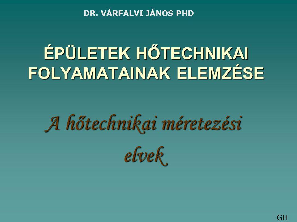 ÉPÜLETEK HŐTECHNIKAI FOLYAMATAINAK ELEMZÉSE A hőtechnikai méretezési elvek DR. VÁRFALVI JÁNOS PHD GH