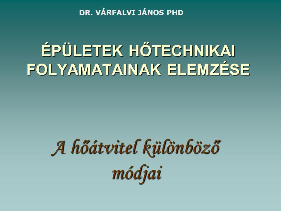 ÉPÜLETEK HŐTECHNIKAI FOLYAMATAINAK ELEMZÉSE A hőátvitel különböző módjai DR. VÁRFALVI JÁNOS PHD