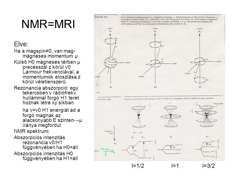 Gerjesztés/Energia átadás: ha Larmour ν0=ν; ∆E=μH 0 /I=hν 0 ∆m=+-1 mágneses dipólus reorientációja NMR aktív magok: Imnuklidrelatív érzékenységν 0 (MHz, ha H 0 =14kG) SpinMágneses kvantumszám ½-1/2proton10060 ½+1/213C1,5915 ½+1/219F83,456,4 ½+1/231P6,6436,4 3/27Li 3/211B 12H0,969 Nem aktív a 12C és 16O.
