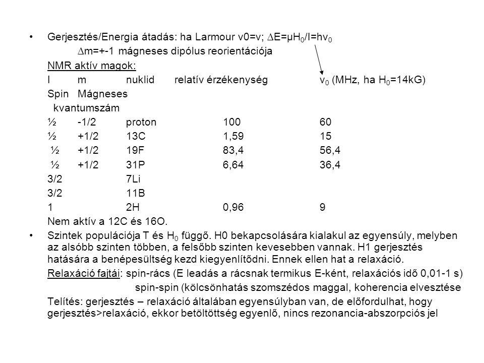 Kémiai szerkezet vizsgálata Kémiai eltolódás: magok mágneses momentuma és kötőelektronok mágneses tere kölcsönhat környező elektronok árnyékoló hatása: Heff=H0(1-σ) megváltozott H kell a rezonancia abszorpcióhoz ahol σ az árnyékolási tényező: +, - δ a rezonancia kifejezése relatív egységben a tetra-metil- szilánhoz képest: δ=(H ref -H)/H ref *10 6 =(ν ref -ν)/ν ref *10 6 Spin-spin csatolás (J): szomszédos magok kölcsönhatása: rezonanciavonalak kölcsönös felhasadása multiplettekké multiplett vonalainak száma=n+1 n szomszédos 1H-ok száma multiplett intenzitása: 1H-ok száma adott csoportban J függ molekula szerkezetétől, geometriájától, nem függ H0-tól