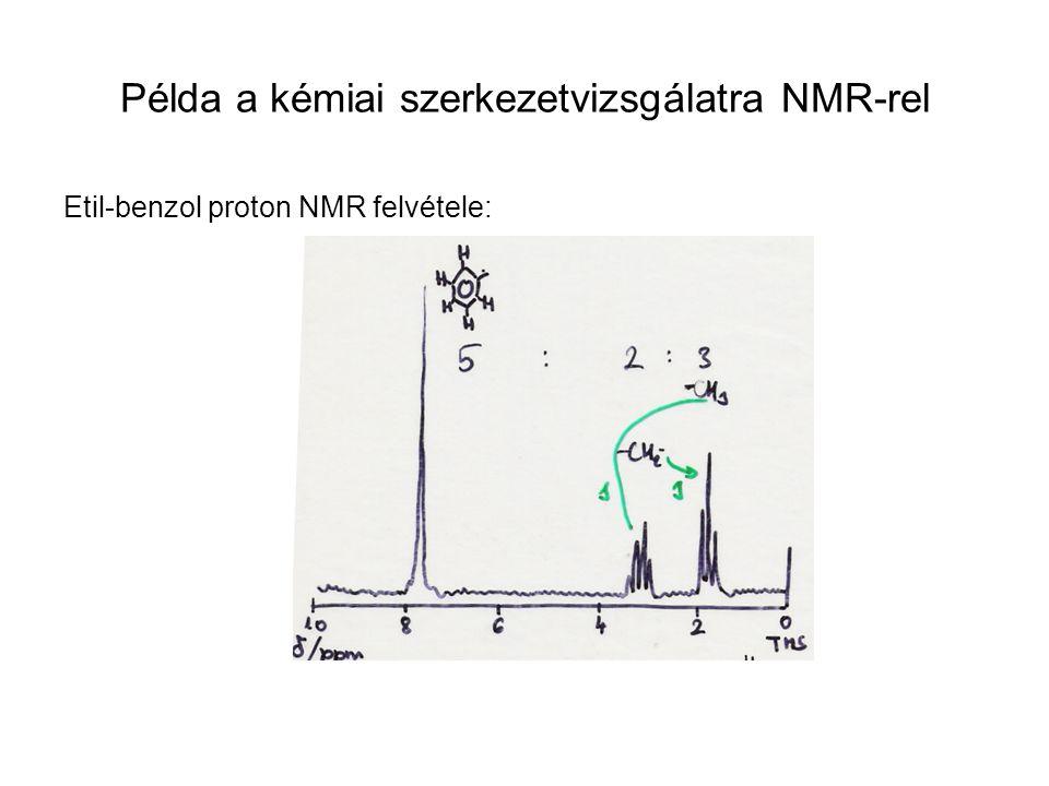 Folytonos üzemű NMRImpulzus üzemű (pulzált) Fourier (continuous wave)transzformációs NMR Berendezés részei: Mágnes: erős (10-50 kGauss), homogén, állandó, elektromágnes, szupravezető mágnes Mintaegység: minta üvegcsőben (mg minta CCl4 oldószerben), Rf transmitter + rf vevő + detektor (ez lehet egyetlen tekercs: 60-100 MHz) Stabilizátor: külső vagy belső referencia a mintában (TMS) Mágnes szabályozó: frekvencia vagy térerő hangolása (0-2000 Hz: 1 Hz/s) Spektrum felvétel lassú szkenneléssel (1 h) vagy szimultán szkenneléssel a) alapállapot H0; b)ErősH 1x impulzus gerjeszt, összes μ kitér; c)μ visszatér alapállapotba; d) detektált jel=szumma ν 0 -aknak megfelelő sin-os lecsengések; e) indukciós lecsengés idő válaszából Fourier transzformációval hagyományos frekvencia válasz előállítása