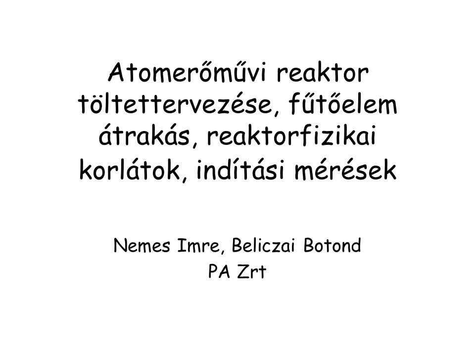 Atomerőművi reaktor töltettervezése, fűtőelem átrakás, reaktorfizikai korlátok, indítási mérések Nemes Imre, Beliczai Botond PA Zrt