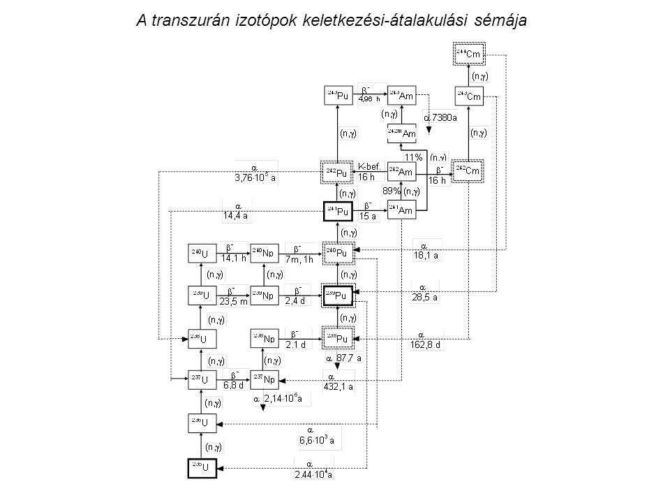 A transzurán izotópok keletkezési-átalakulási sémája