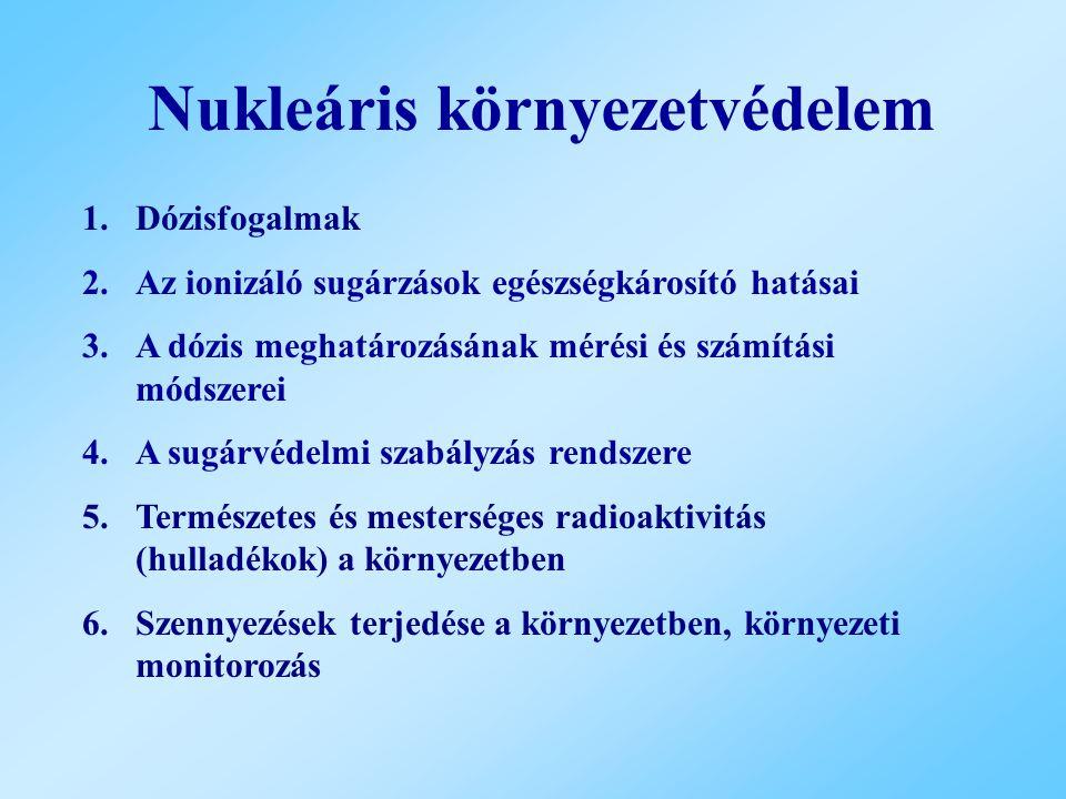 Két további dózismennyiség Lekötött dózis Kollektív dózis A szervezetben 1 évnél hosszabb ideig jelenlévő nuklid által T=50 vagy T=70 év alatt okozott effektív dózis Adott forrásból i számú, egyenként n i tagú embercsoportnak okozott dózis, egysége személy×Sv.