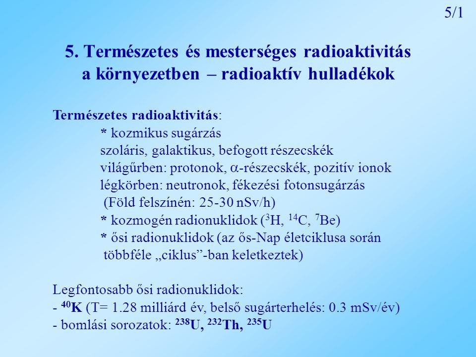 5. Természetes és mesterséges radioaktivitás a környezetben – radioaktív hulladékok Természetes radioaktivitás: * kozmikus sugárzás szoláris, galaktik