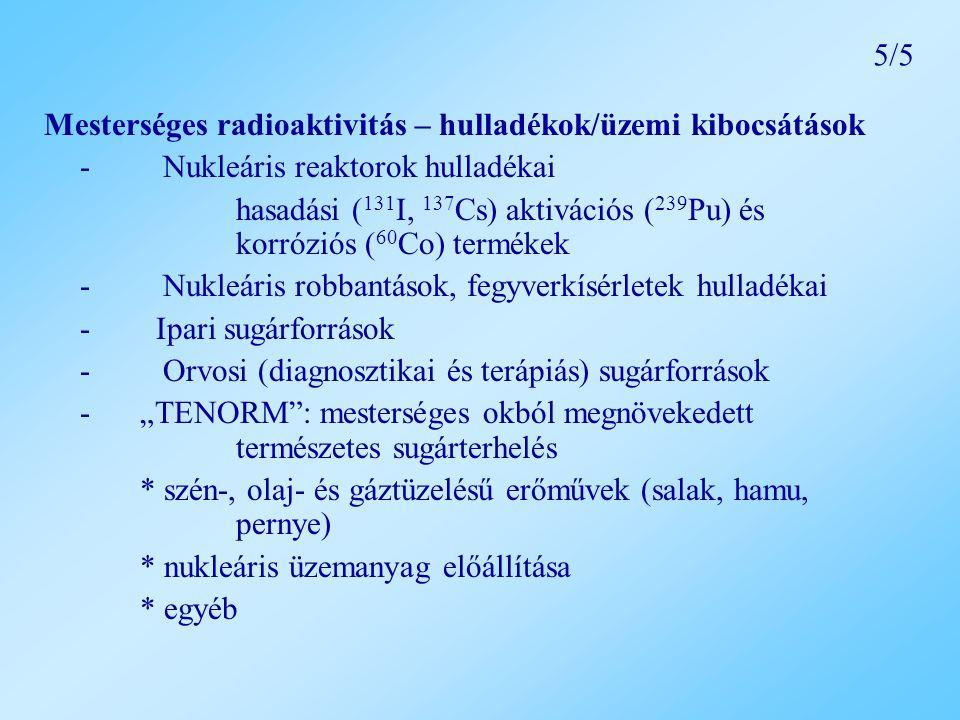 """Mesterséges radioaktivitás – hulladékok/üzemi kibocsátások - Nukleáris reaktorok hulladékai hasadási ( 131 I, 137 Cs) aktivációs ( 239 Pu) és korróziós ( 60 Co) termékek - Nukleáris robbantások, fegyverkísérletek hulladékai - Ipari sugárforrások - Orvosi (diagnosztikai és terápiás) sugárforrások - """"TENORM : mesterséges okból megnövekedett természetes sugárterhelés * szén-, olaj- és gáztüzelésű erőművek (salak, hamu, pernye) * nukleáris üzemanyag előállítása * egyéb 5/5"""