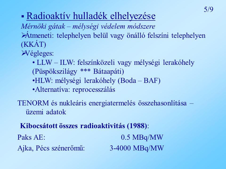 TENORM és nukleáris energiatermelés összehasonlítása – üzemi adatok Kibocsátott összes radioaktivitás (1988): Paks AE: 0.5 MBq/MW Ajka, Pécs szénerőmű: 3-4000 MBq/MW  Radioaktív hulladék elhelyezése Mérnöki gátak – mélységi védelem módszere  Átmeneti: telephelyen belül vagy önálló felszíni telephelyen (KKÁT)  Végleges: LLW – ILW: felszínközeli vagy mélységi lerakóhely (Püspökszilágy *** Bátaapáti) HLW: mélységi lerakóhely (Boda – BAF) Alternatíva: reprocesszálás 5/9