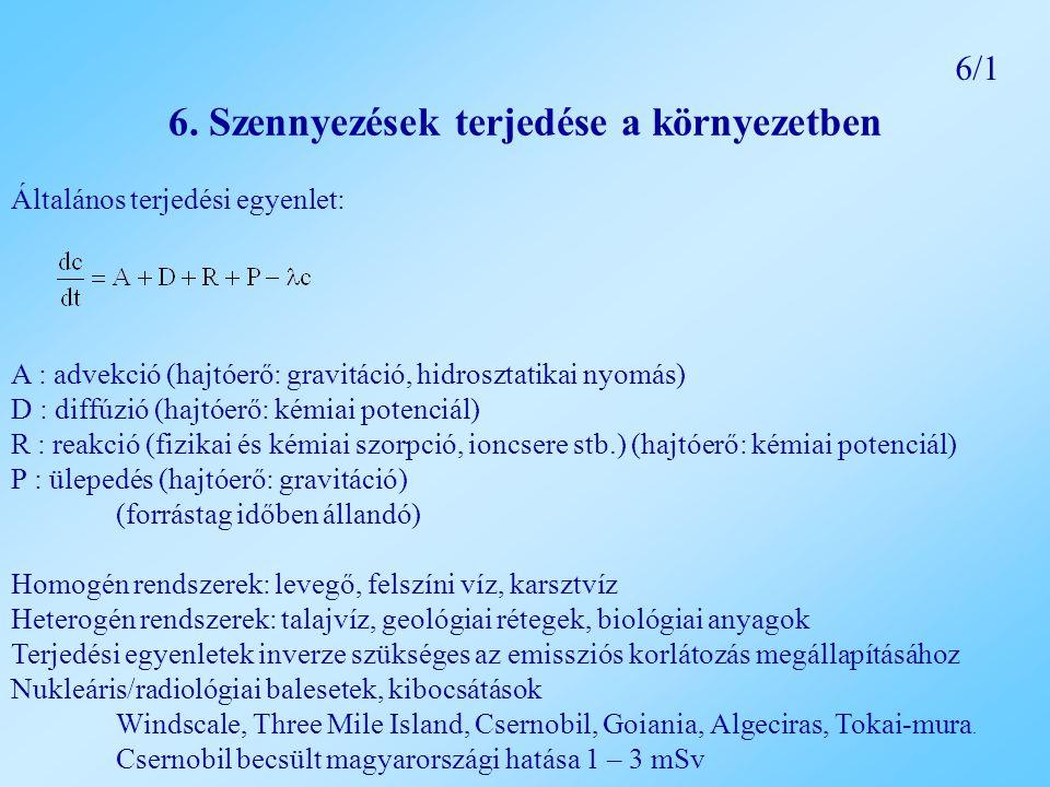 6. Szennyezések terjedése a környezetben Általános terjedési egyenlet: A : advekció (hajtóerő: gravitáció, hidrosztatikai nyomás) D : diffúzió (hajtóe