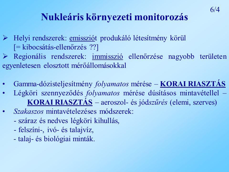 Nukleáris környezeti monitorozás  Helyi rendszerek: emissziót produkáló létesítmény körül [= kibocsátás-ellenőrzés ??]  Regionális rendszerek: immisszió ellenőrzése nagyobb területen egyenletesen elosztott mérőállomásokkal Gamma-dózisteljesítmény folyamatos mérése – KORAI RIASZTÁS Légköri szennyeződés folyamatos mérése dúsításos mintavétellel – KORAI RIASZTÁS – aeroszol- és jódszűrés (elemi, szerves) Szakaszos mintavételezéses módszerek: - száraz és nedves légköri kihullás, - felszíni-, ivó- és talajvíz, - talaj- és biológiai minták.
