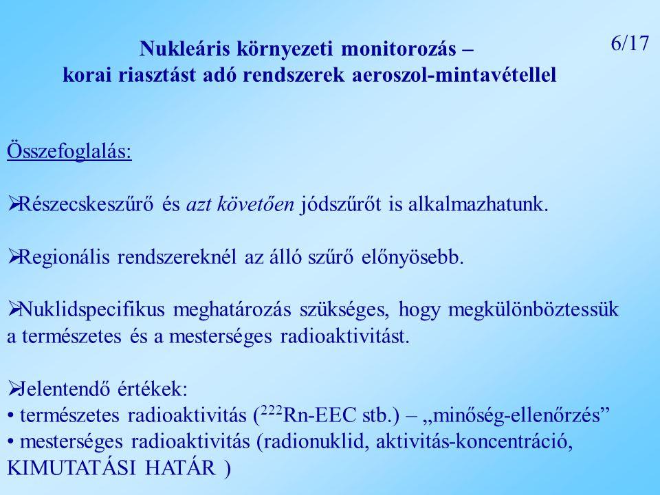 Nukleáris környezeti monitorozás – korai riasztást adó rendszerek aeroszol-mintavétellel Összefoglalás:  Részecskeszűrő és azt követően jódszűrőt is alkalmazhatunk.