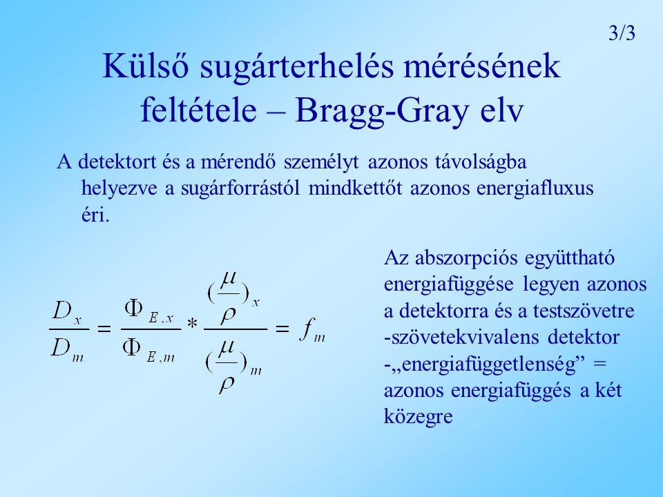 Külső sugárterhelés mérésének feltétele – Bragg-Gray elv A detektort és a mérendő személyt azonos távolságba helyezve a sugárforrástól mindkettőt azonos energiafluxus éri.