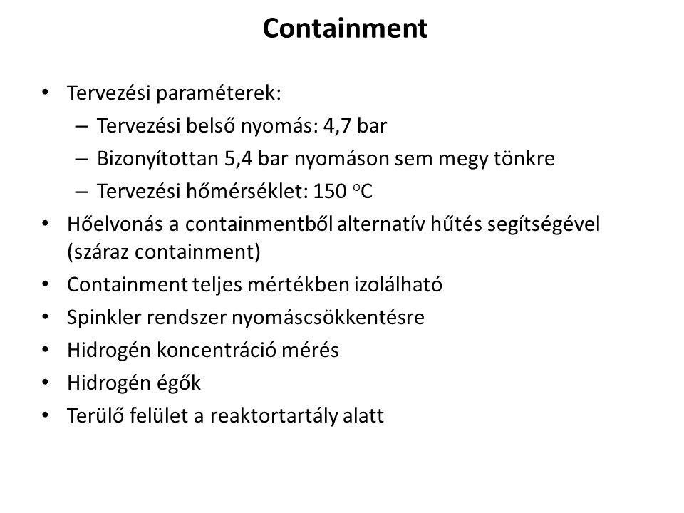 Containment Tervezési paraméterek: – Tervezési belső nyomás: 4,7 bar – Bizonyítottan 5,4 bar nyomáson sem megy tönkre – Tervezési hőmérséklet: 150 o C Hőelvonás a containmentből alternatív hűtés segítségével (száraz containment) Containment teljes mértékben izolálható Spinkler rendszer nyomáscsökkentésre Hidrogén koncentráció mérés Hidrogén égők Terülő felület a reaktortartály alatt