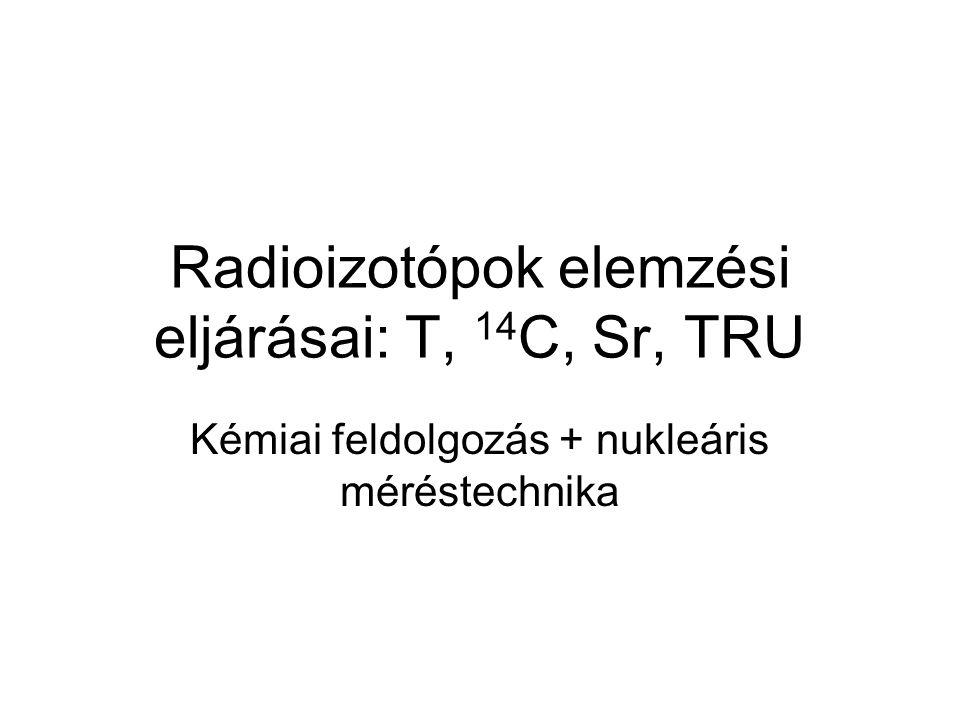 Radioizotópok elemzési eljárásai: T, 14 C, Sr, TRU Kémiai feldolgozás + nukleáris méréstechnika