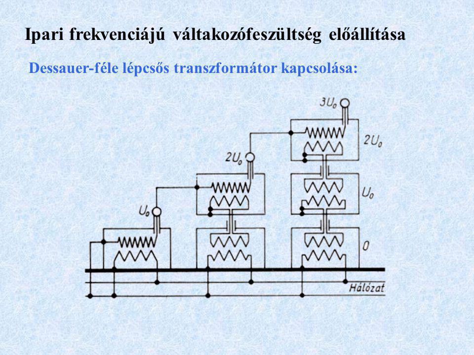 Ipari frekvenciájú váltakozófeszültség előállítása Dessauer-féle lépcsős transzformátor kapcsolása: