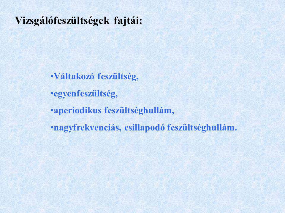 Vizsgálófeszültségek fajtái: Váltakozó feszültség, egyenfeszültség, aperiodikus feszültséghullám, nagyfrekvenciás, csillapodó feszültséghullám.