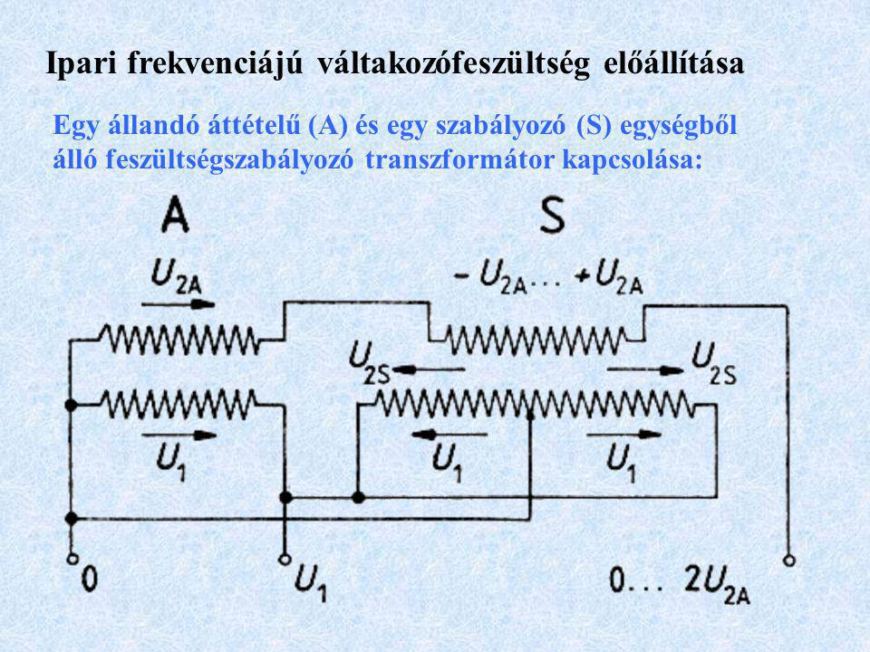 Ipari frekvenciájú váltakozófeszültség előállítása Egy állandó áttételű (A) és egy szabályozó (S) egységből álló feszültségszabályozó transzformátor kapcsolása: