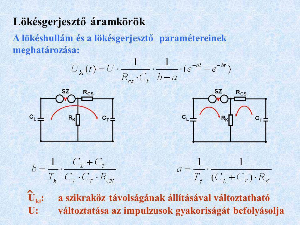 Lökésgerjesztő áramkörök A lökéshullám és a lökésgerjesztő paramétereinek meghatározása: U ki :a szikraköz távolságának állításával változtatható U: változtatása az impulzusok gyakoriságát befolyásolja