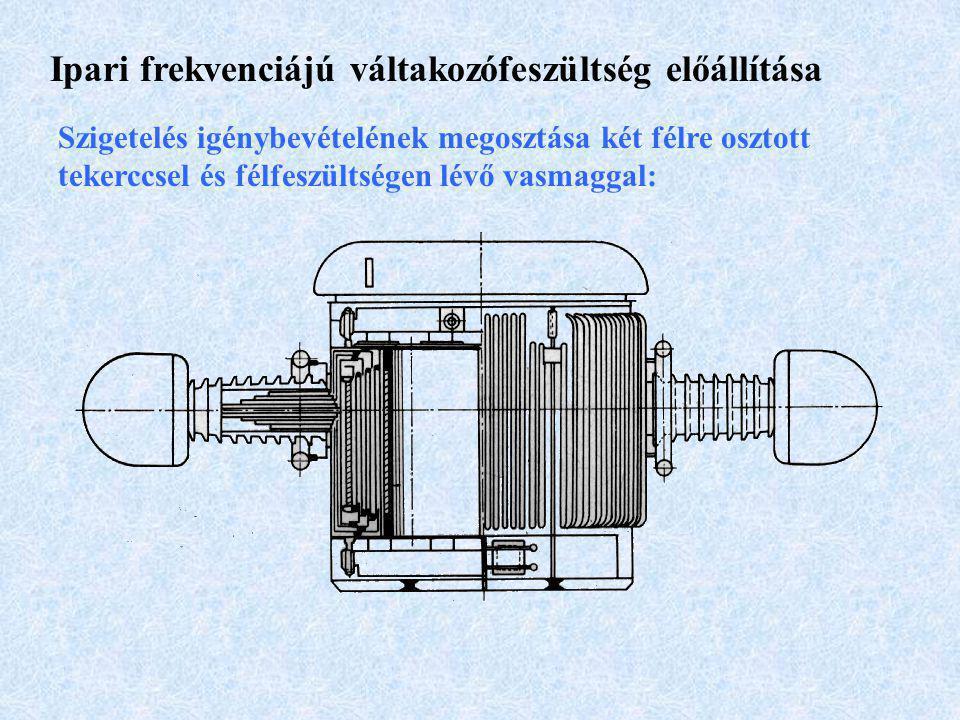 Ipari frekvenciájú váltakozófeszültség előállítása Osztott tekercsű transzformátor kisfeszültségű tekerccsel a nagyfeszültségű oldalon:
